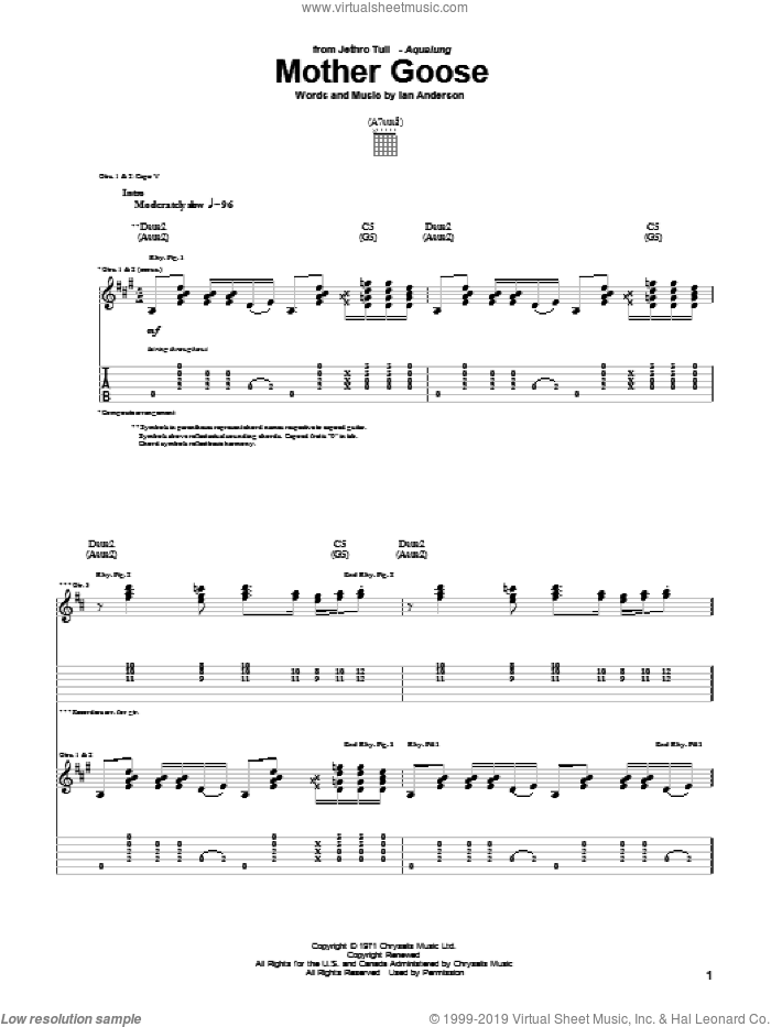 Mother Goose sheet music for guitar (tablature) by Ian Anderson. Score Image Preview.