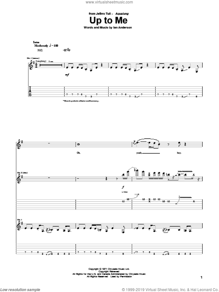 Up To Me sheet music for guitar (tablature) by Jethro Tull. Score Image Preview.