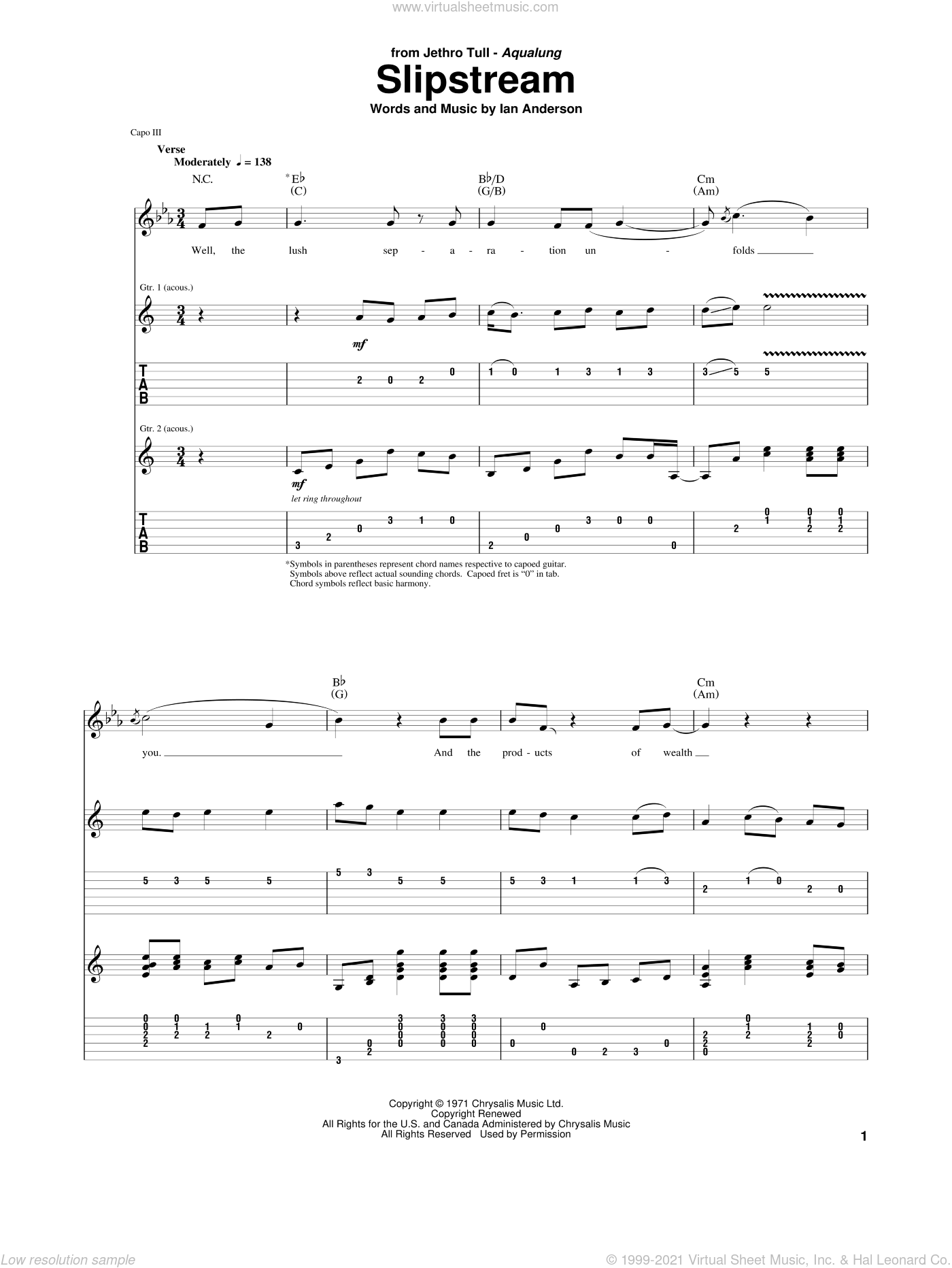 Slipstream sheet music for guitar (tablature) by Jethro Tull. Score Image Preview.