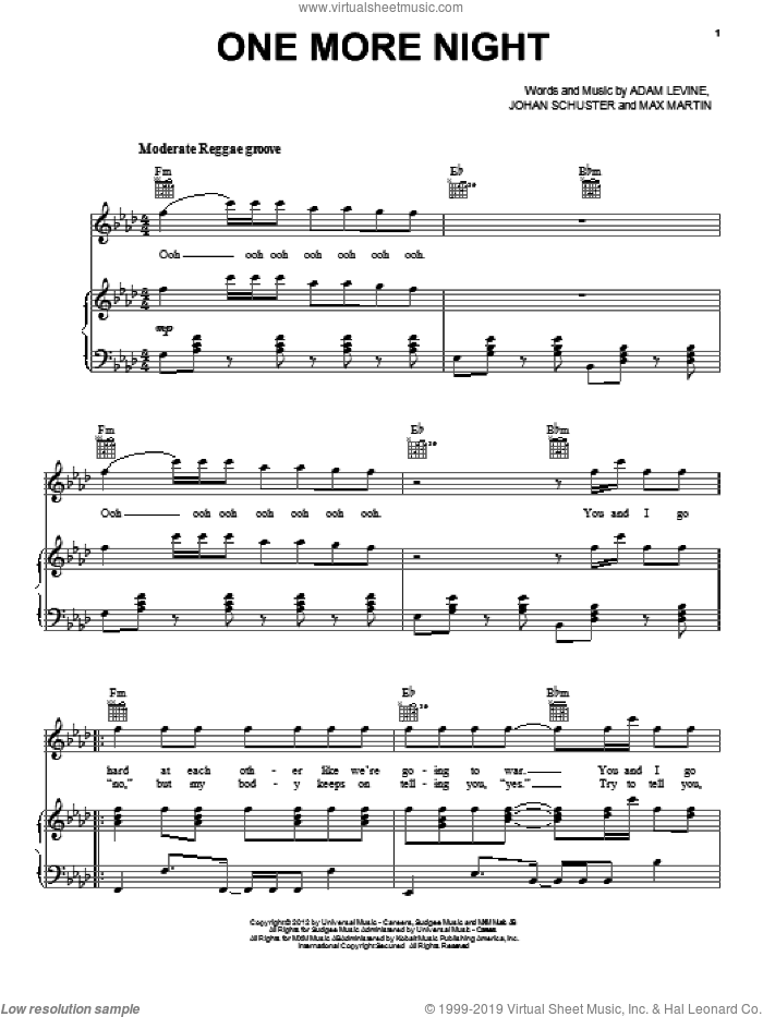 One More Night sheet music for voice, piano or guitar by Max Martin, Adam Levine, Johan Schuster and Maroon 5. Score Image Preview.