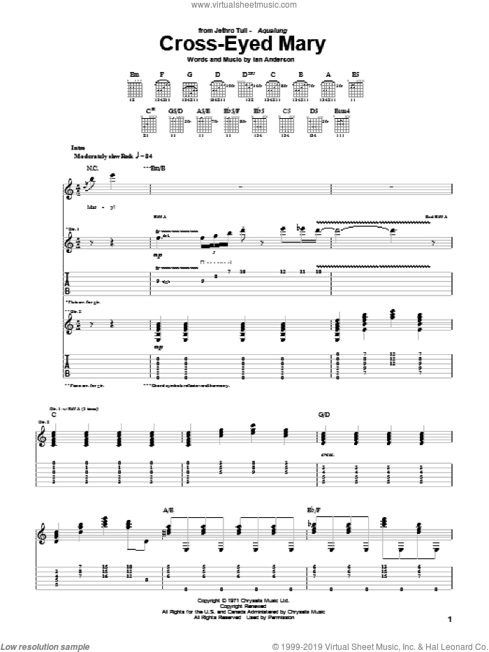 Cross-Eyed Mary sheet music for guitar (tablature) by Jethro Tull and Ian Anderson, intermediate skill level