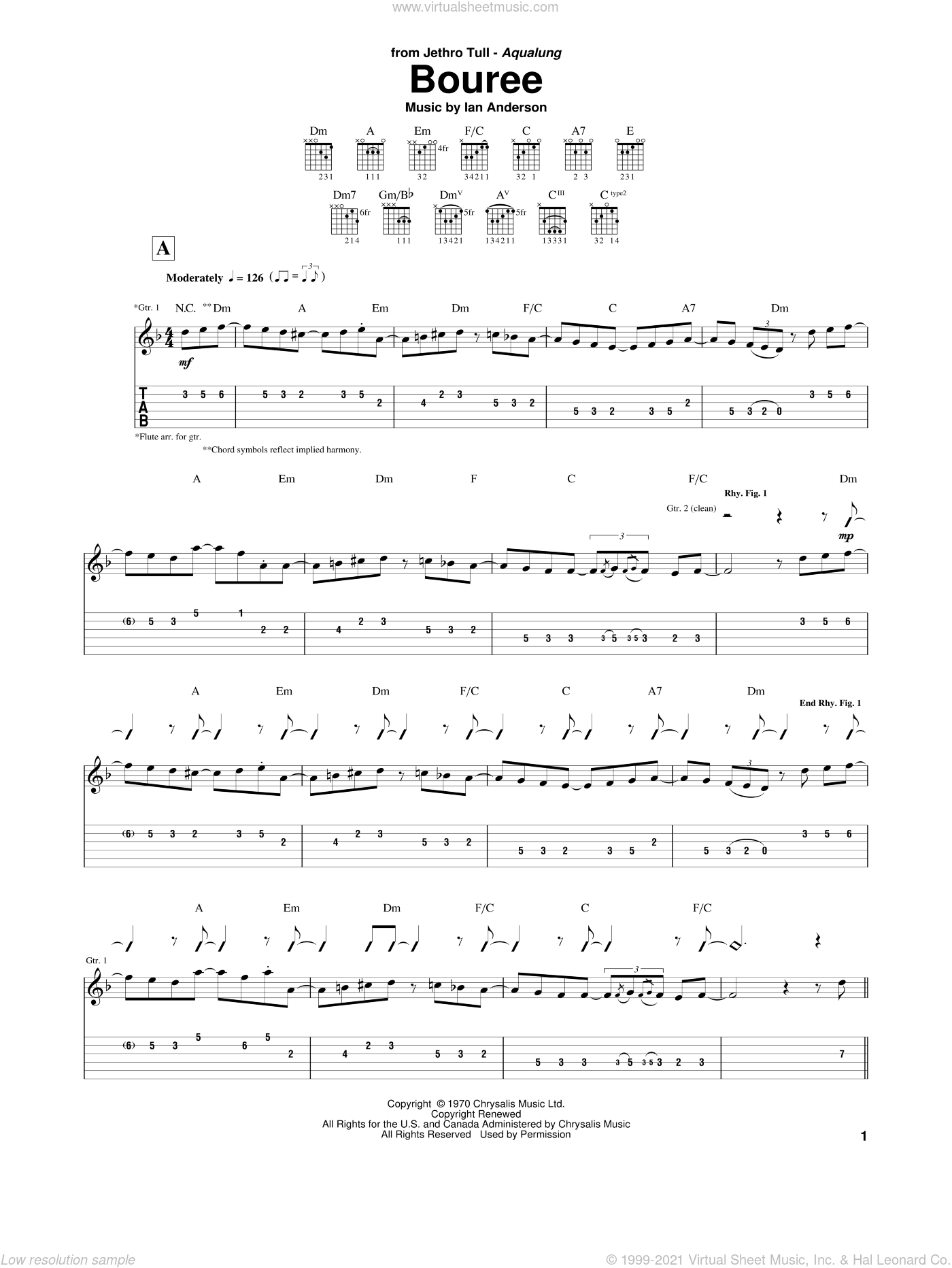 Bouree sheet music for guitar (tablature) by Ian Anderson. Score Image Preview.