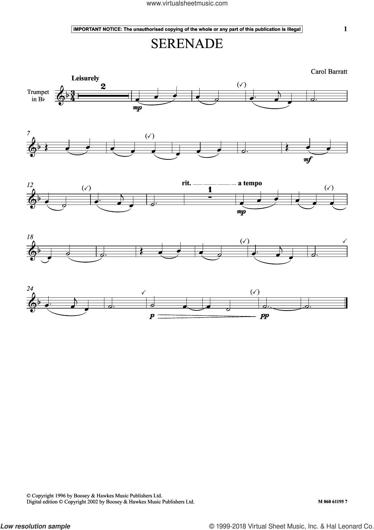 Serenade sheet music for trumpet solo by Carol Barratt, classical score, intermediate skill level