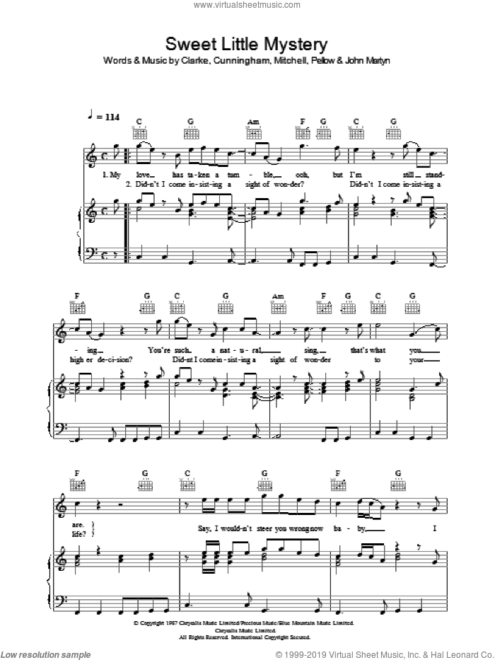 Sweet Little Mystery sheet music for voice, piano or guitar by Wet Wet Wet, CLARK, CLARKE, Cunningham, John Martyn, Pellow and Willie Mitchell, intermediate skill level
