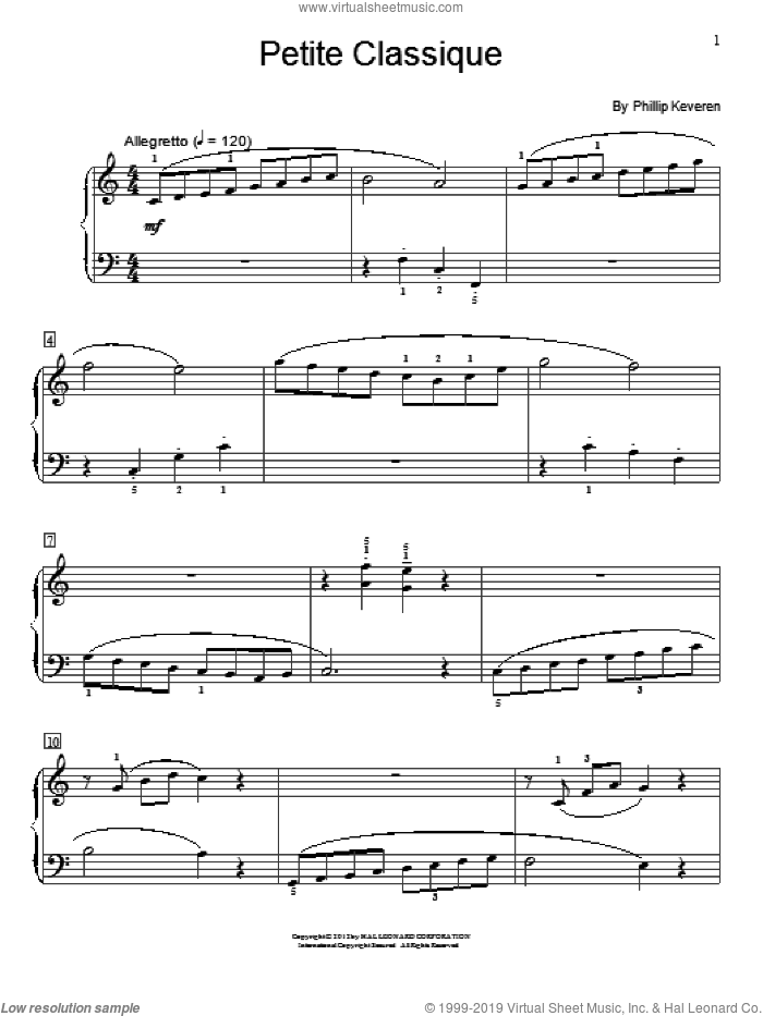 Petite Classique sheet music for piano solo (elementary) by Phillip Keveren. Score Image Preview.