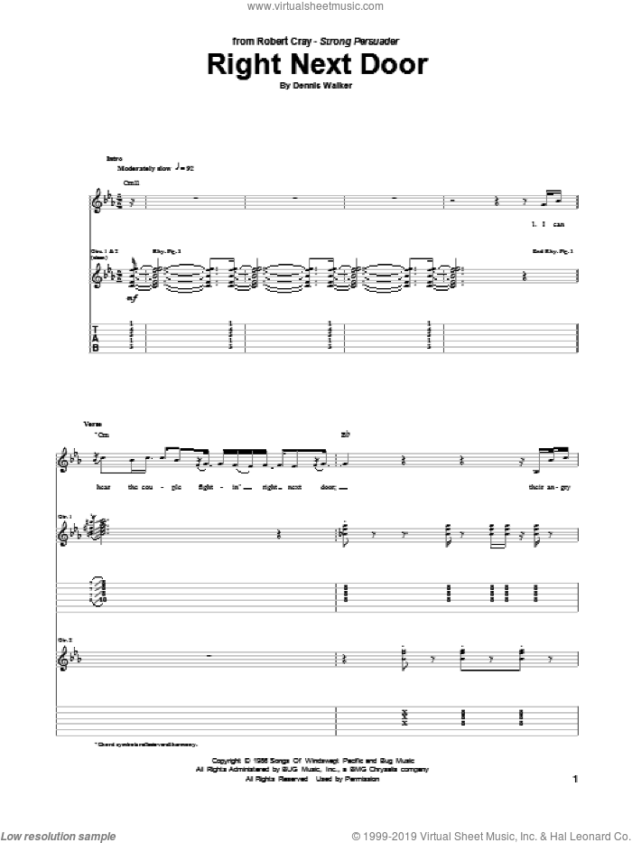 Right Next Door sheet music for guitar (tablature) by Robert Cray. Score Image Preview.