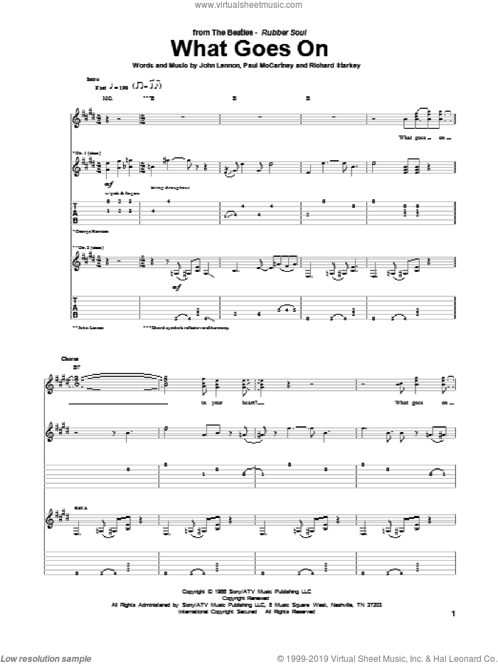 What Goes On sheet music for guitar (tablature) by The Beatles, John Lennon and Paul McCartney, intermediate skill level