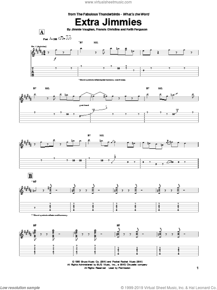 Extra Jimmies sheet music for guitar (tablature) by Jimmie Vaughan. Score Image Preview.