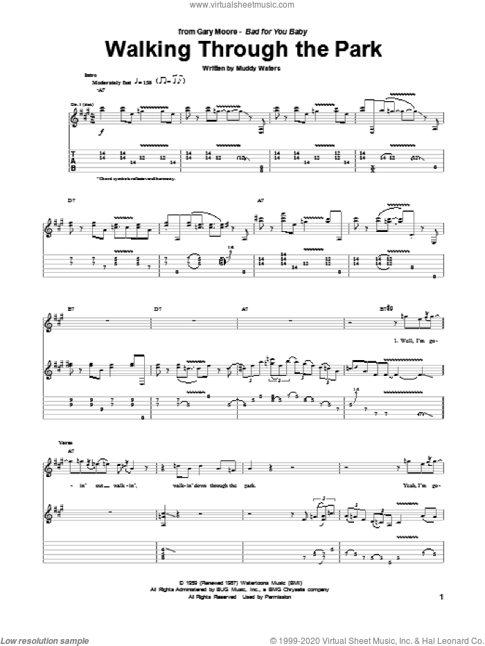 Walking Through The Park sheet music for guitar (tablature) by Gary Moore and Muddy Waters. Score Image Preview.