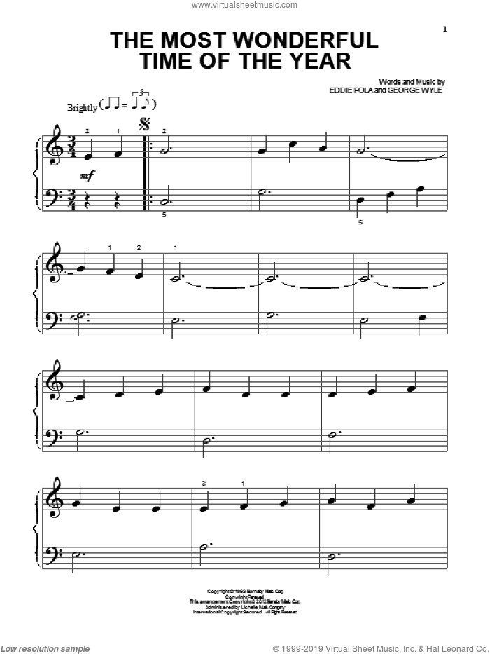 The Most Wonderful Time Of The Year sheet music for piano solo (big note book) by George Wyle and Eddie Pola. Score Image Preview.