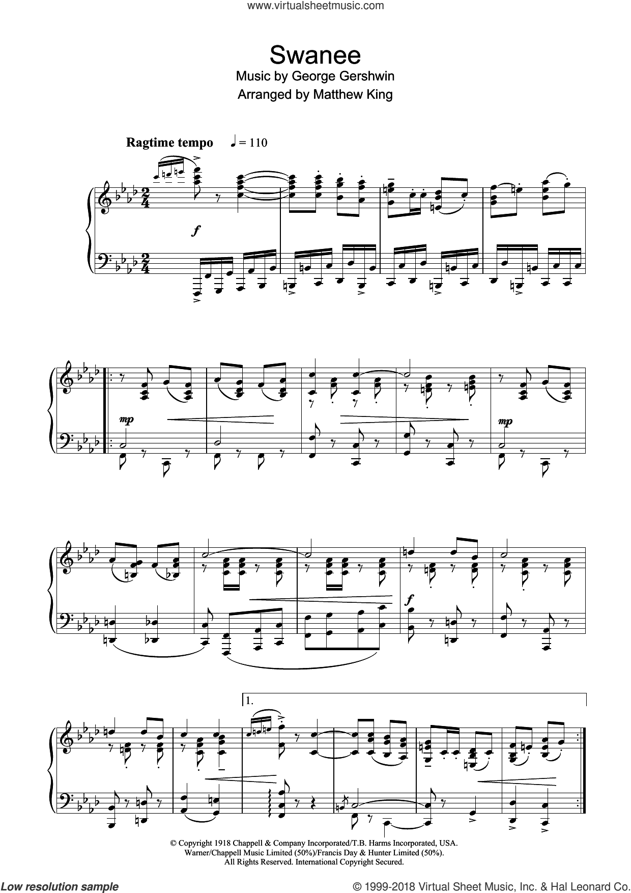 Swanee sheet music for piano solo by George Gershwin and Irving Caesar, intermediate skill level