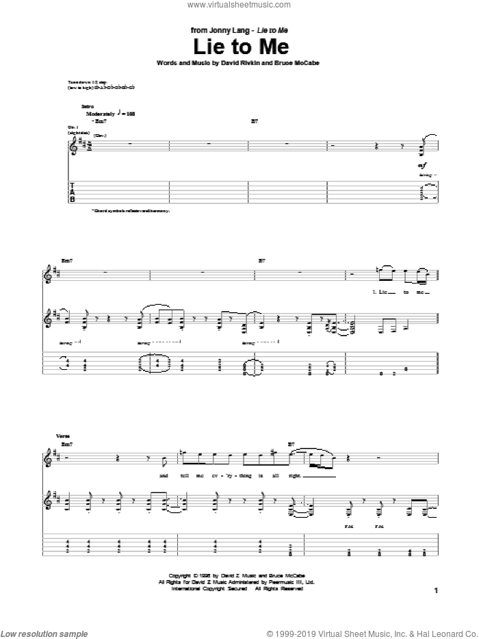 Lie To Me sheet music for guitar (tablature) by Jonny Lang