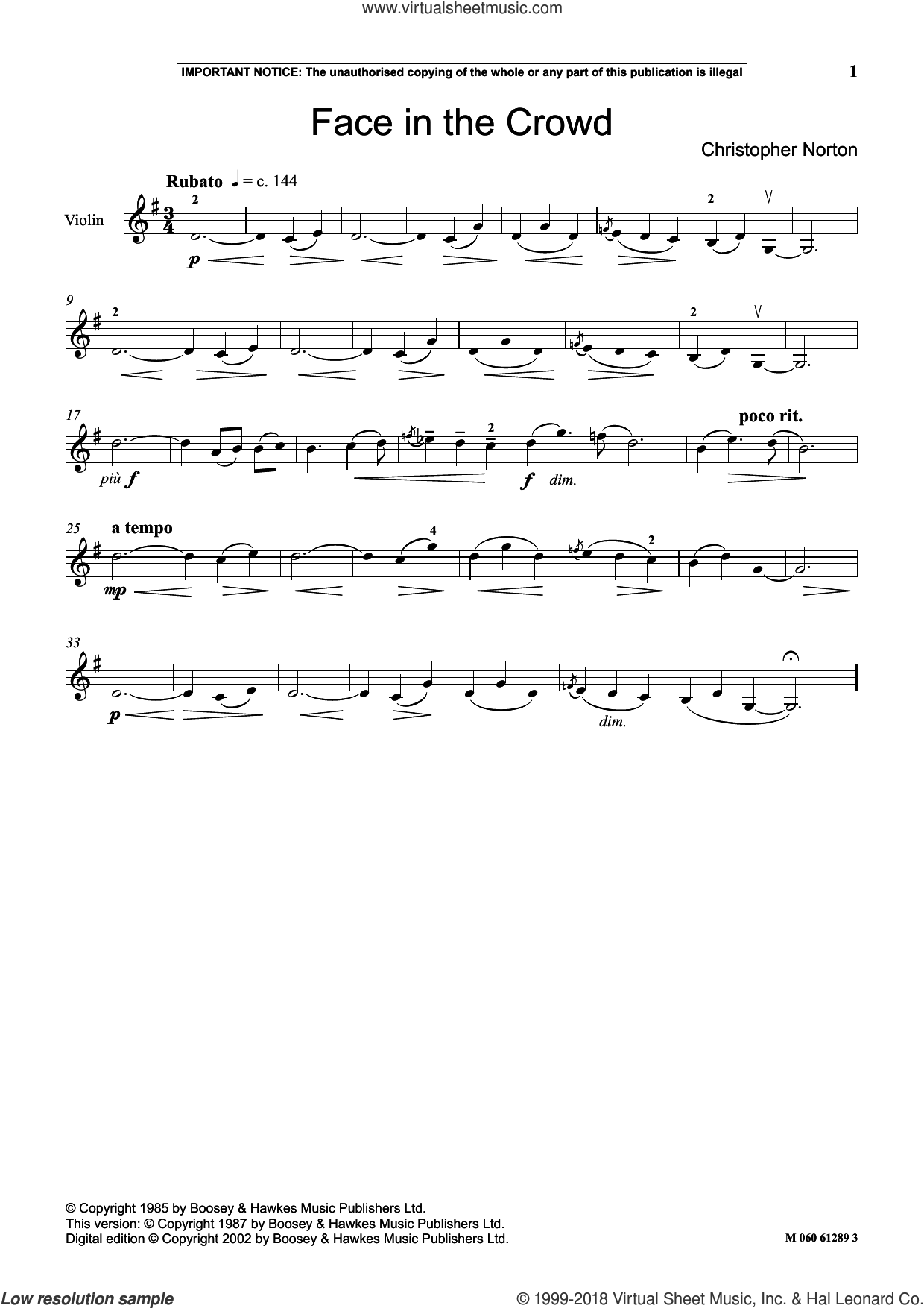 Face In The Crowd sheet music for violin solo by Christopher Norton, classical score, intermediate skill level