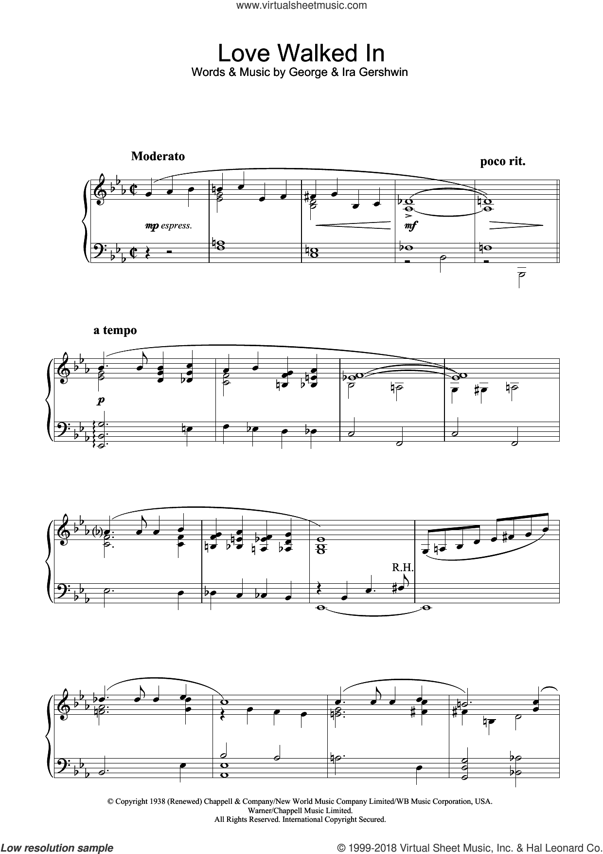 Love Walked In, (intermediate) sheet music for piano solo by George Gershwin, GEORGE and Ira Gershwin, intermediate skill level