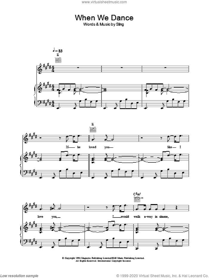 When We Dance sheet music for voice, piano or guitar by Sting