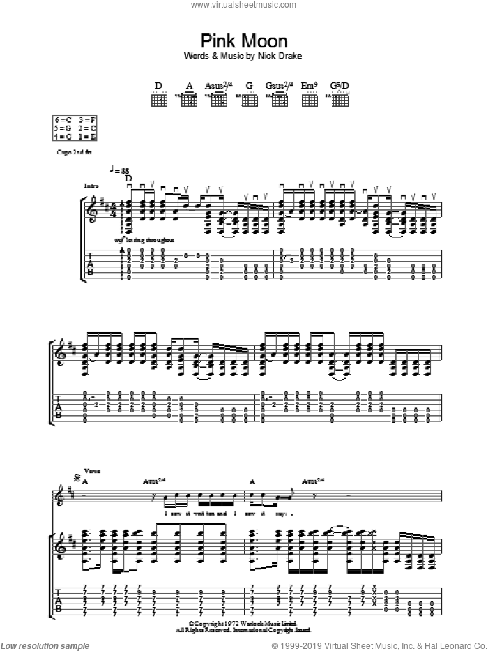 Pink Moon sheet music for guitar (tablature) by Nick Drake, intermediate skill level