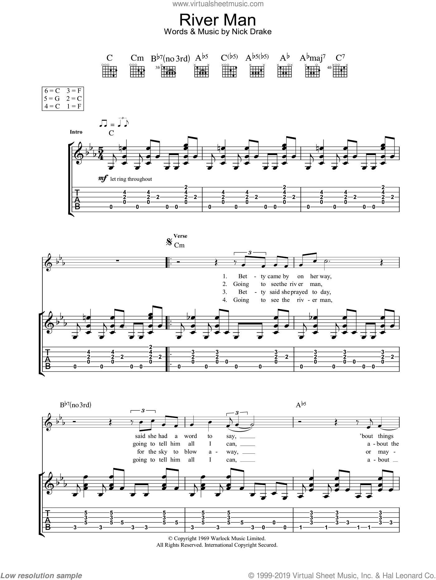 River Man sheet music for guitar (tablature) by Nick Drake, intermediate. Score Image Preview.