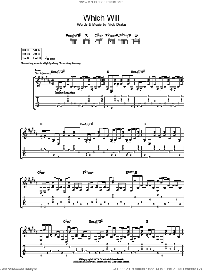 Which Will sheet music for guitar (tablature) by Nick Drake, intermediate