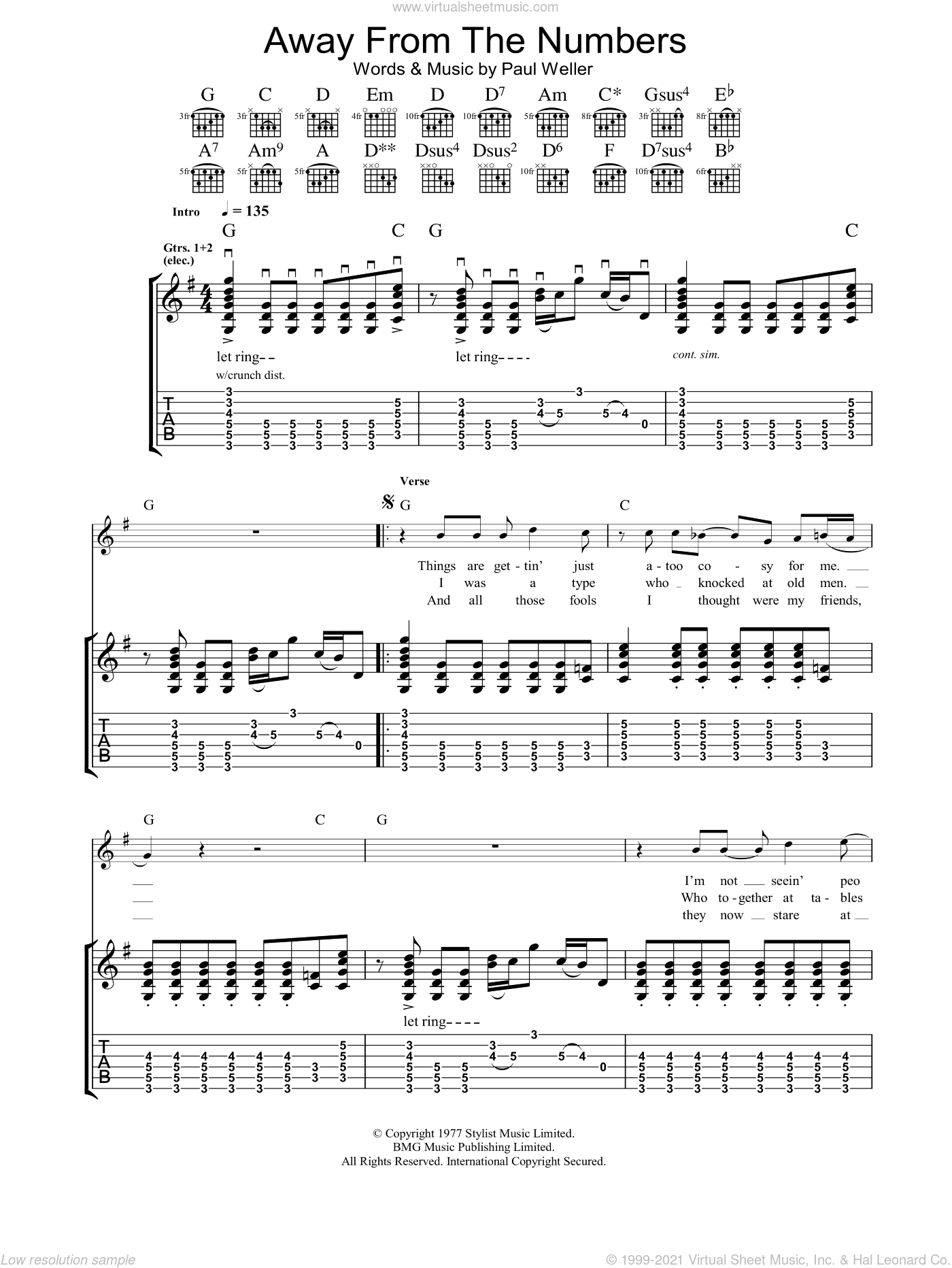 Away From The Numbers sheet music for guitar (tablature) by The Jam and Paul Weller, intermediate skill level