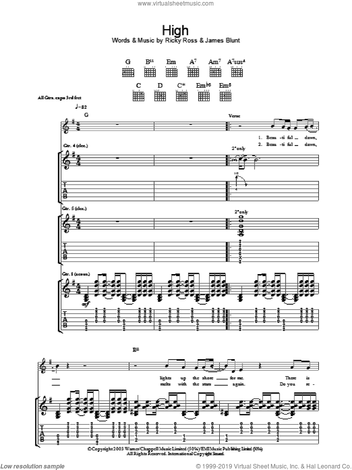 High sheet music for guitar (tablature) by Ricky Ross and James Blunt. Score Image Preview.