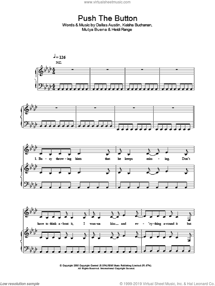 Push The Button sheet music for voice, piano or guitar by Sugababes, Dallas Austin, Heidi Range, Keisha Buchanan and Mutya Buena, intermediate. Score Image Preview.