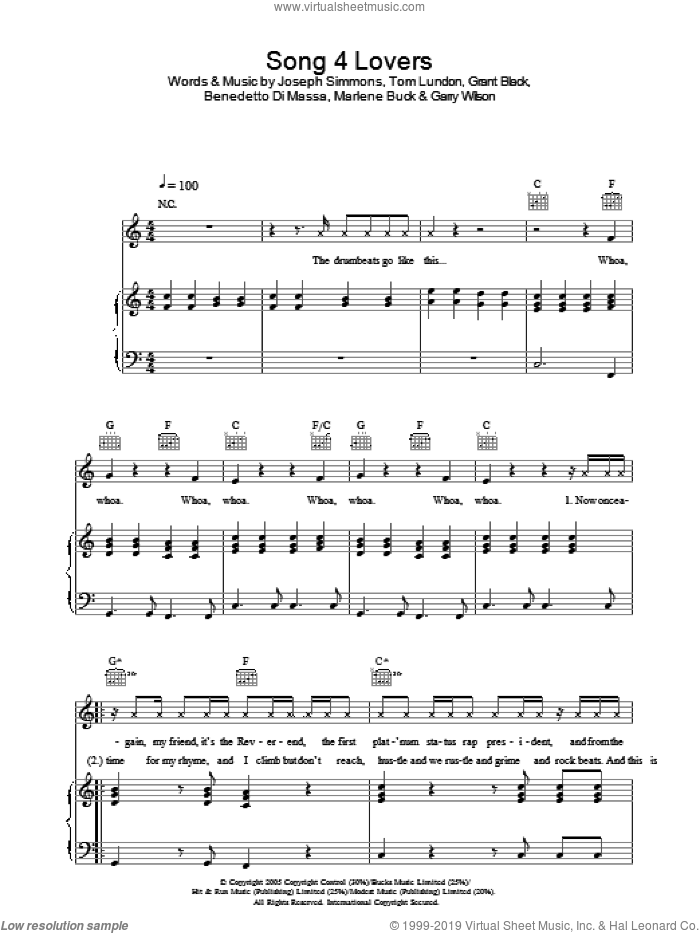 Song 4 Lovers sheet music for voice, piano or guitar by Tom Lundon and Liberty X. Score Image Preview.