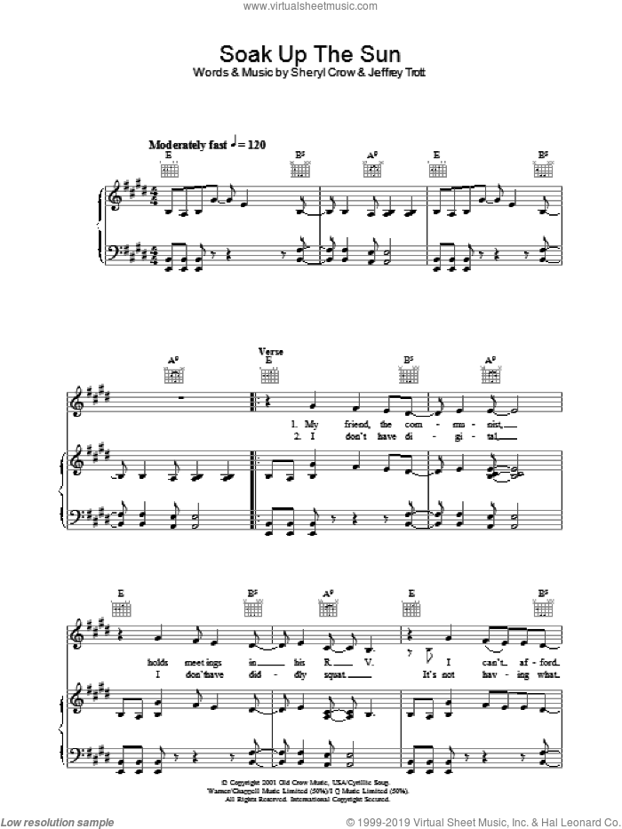 Soak Up The Sun sheet music for voice, piano or guitar by Jeff Trott