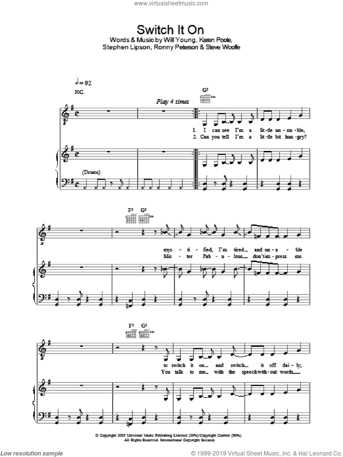 Switch It On sheet music for voice, piano or guitar by Steve Woolfe