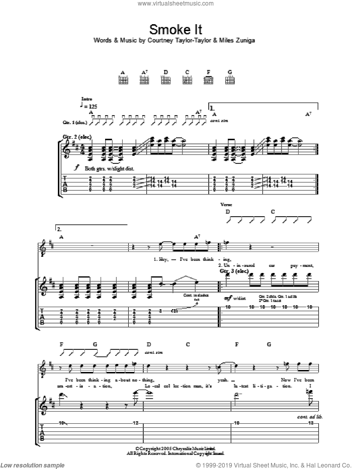 Smoke It sheet music for guitar (tablature) by Miles Zuniga and Courtney Taylor-Taylor. Score Image Preview.