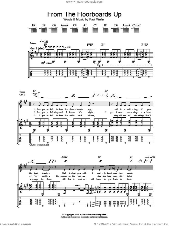 From The Floorboards Up sheet music for guitar (tablature) by Paul Weller. Score Image Preview.