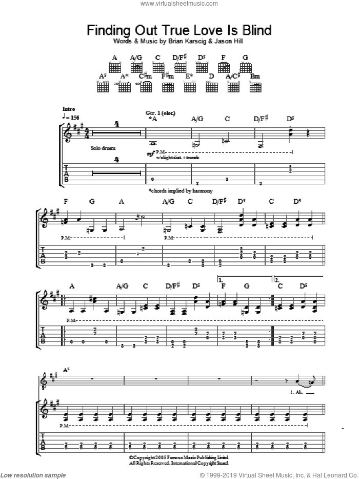Finding Out True Love Is Blind sheet music for guitar (tablature) by Jason Hill. Score Image Preview.
