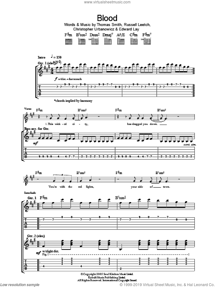 Blood sheet music for guitar (tablature) by Tim Smith. Score Image Preview.