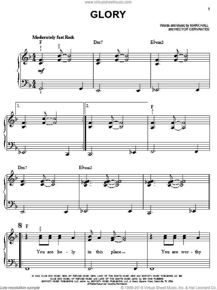 Glory sheet music for piano solo by Casting Crowns, Hector Cervantes and Mark Hall, easy skill level