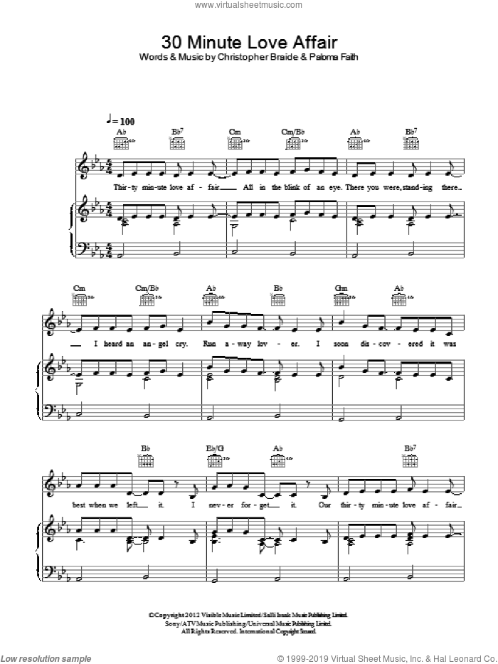 30 Minute Love Affair sheet music for voice, piano or guitar by Chris Braide and Paloma Faith. Score Image Preview.