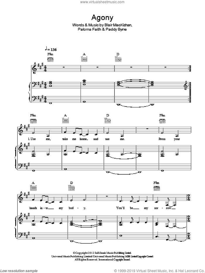 Agony sheet music for voice, piano or guitar by Paddy Byrne, Blair MacKichan and Paloma Faith. Score Image Preview.