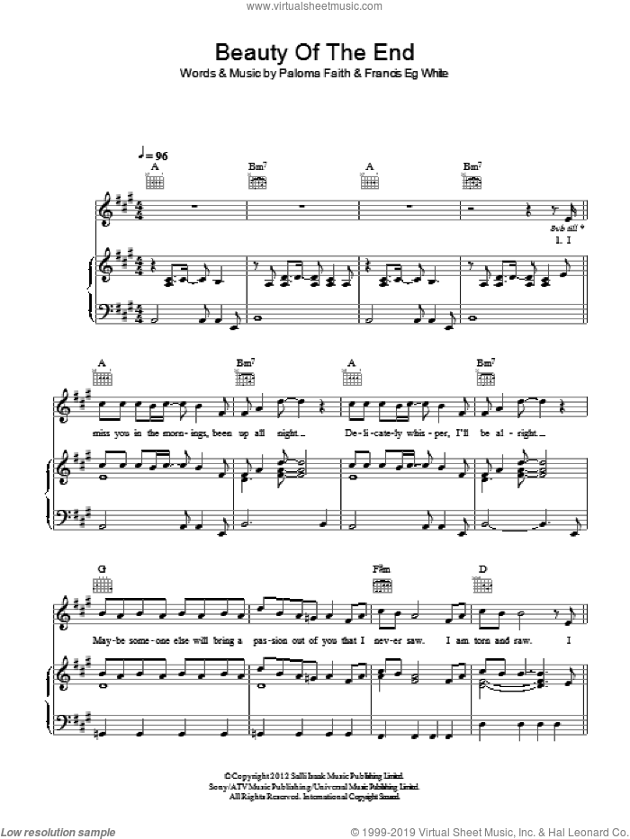 Beauty Of The End sheet music for voice, piano or guitar by Paloma Faith and Francis White, intermediate