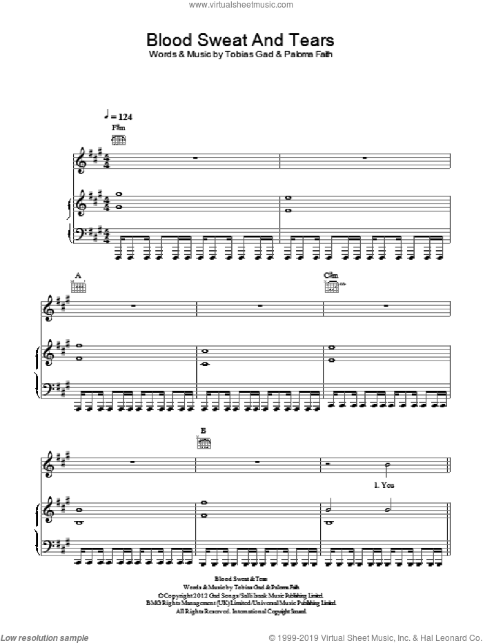 Blood Sweat and Tears sheet music for voice, piano or guitar by Paloma Faith and Toby Gad, intermediate skill level