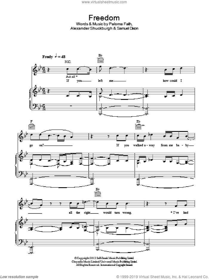 Freedom sheet music for voice, piano or guitar by Samuel Dixon