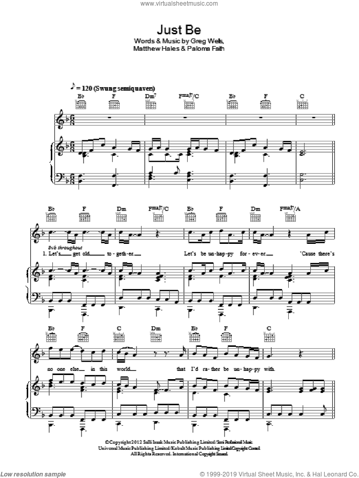 Just Be sheet music for voice, piano or guitar by Matthew Hales, Greg Wells and Paloma Faith. Score Image Preview.