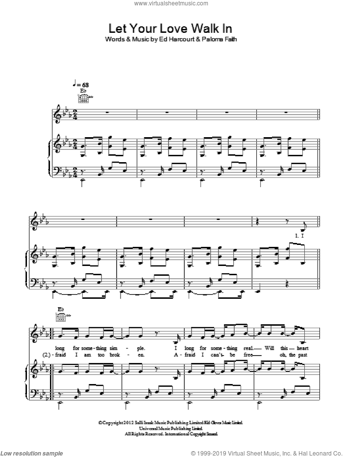 Let Your Love Walk In sheet music for voice, piano or guitar by Ed Harcourt and Paloma Faith. Score Image Preview.