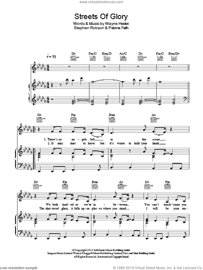 Streets Of Glory sheet music for voice, piano or guitar by Wayne Hector, Paloma Faith and Steve Robson. Score Image Preview.
