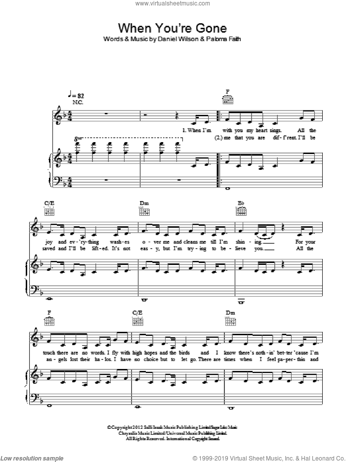 When You're Gone sheet music for voice, piano or guitar by Dan Wilson and Paloma Faith. Score Image Preview.