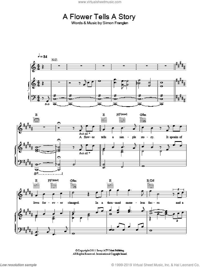 A Flower Tells A Story sheet music for voice, piano or guitar by Simon Franglen