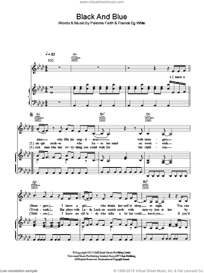 Black And Blue sheet music for voice, piano or guitar by Paloma Faith, intermediate. Score Image Preview.