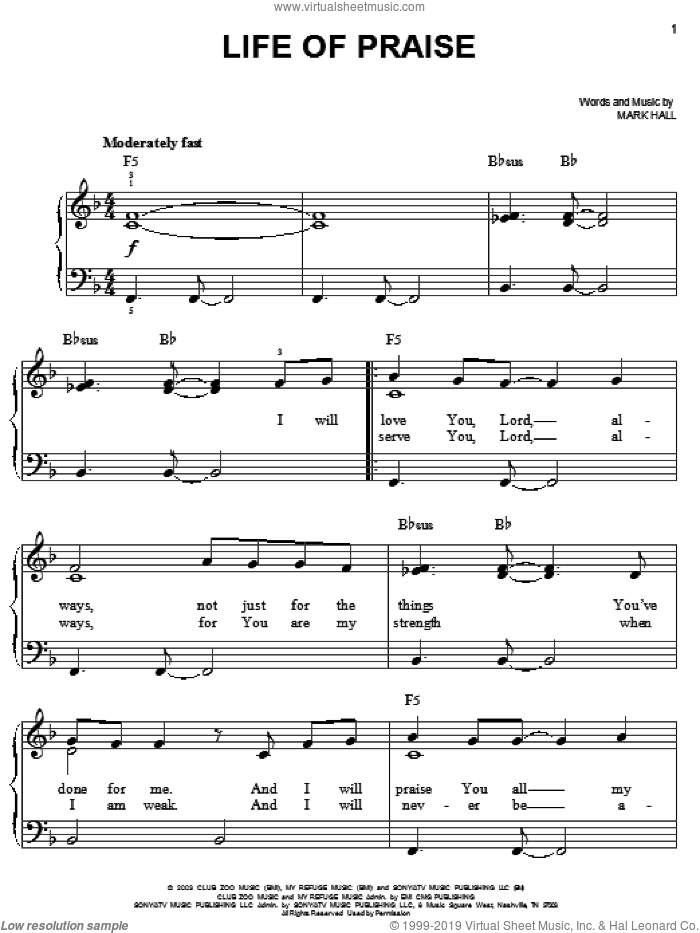 Life Of Praise sheet music for piano solo by Casting Crowns and Mark Hall, easy skill level