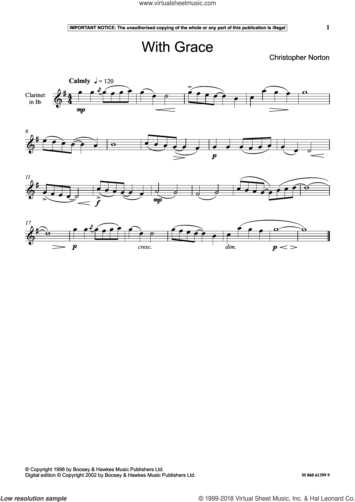 With Grace sheet music for clarinet solo by Christopher Norton, classical score, intermediate skill level