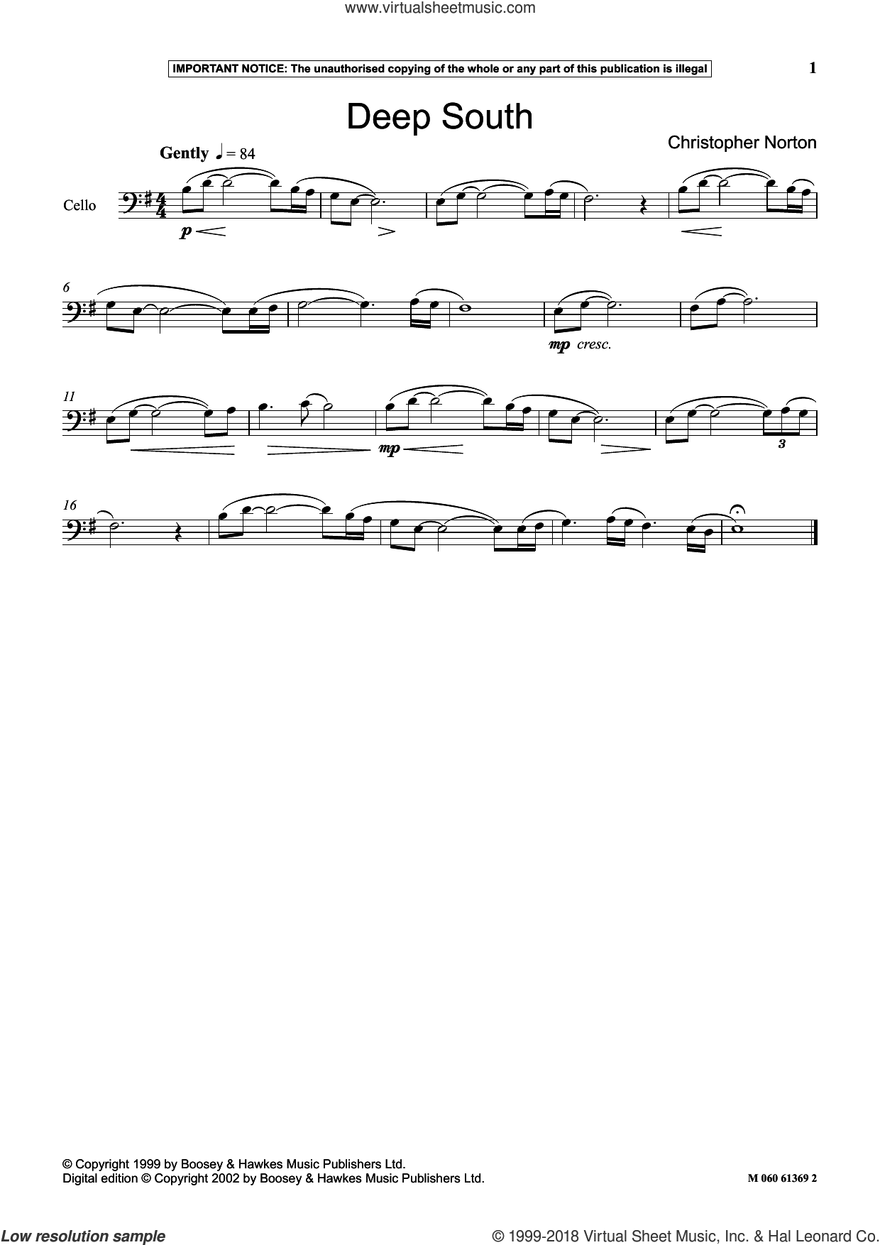 Deep South sheet music for cello solo by Christopher Norton, classical score, intermediate skill level