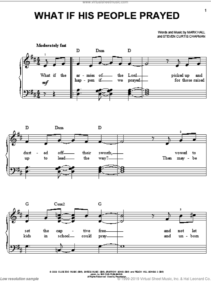 What If His People Prayed sheet music for piano solo by Casting Crowns, Mark Hall and Steven Curtis Chapman, easy skill level