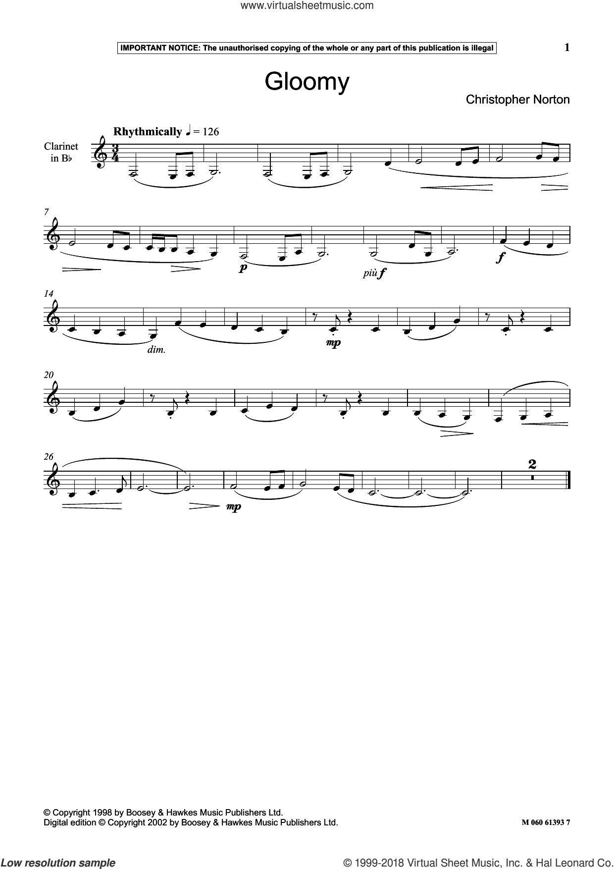 Gloomy sheet music for clarinet solo by Christopher Norton, classical score, intermediate skill level