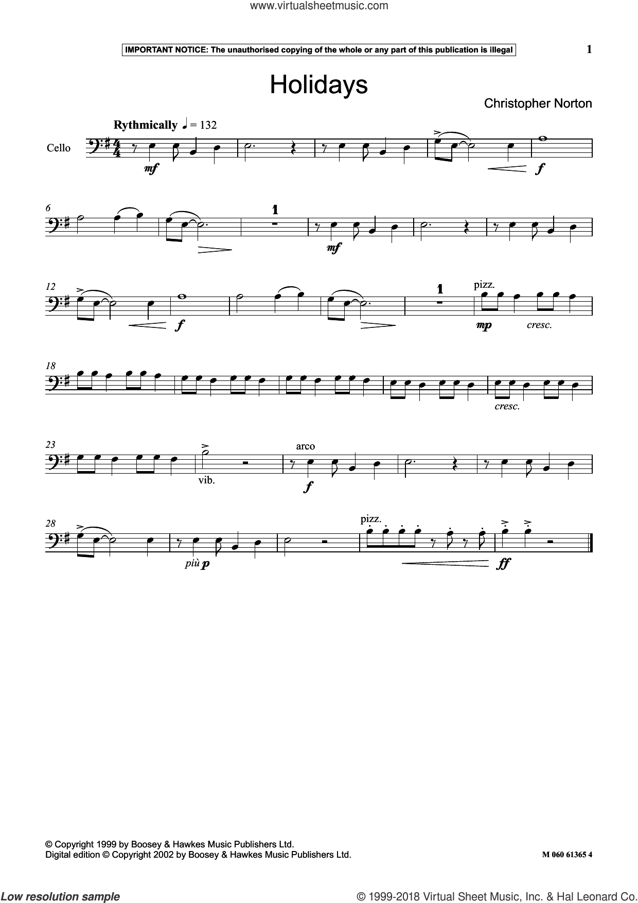 Holidays sheet music for cello solo by Christopher Norton, classical score, intermediate skill level
